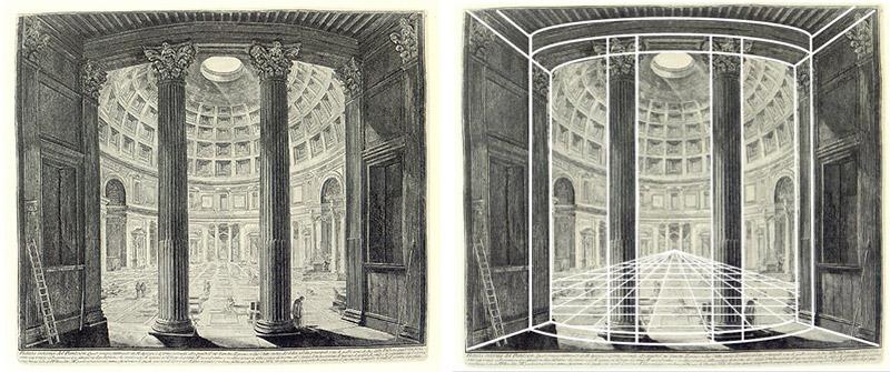 Piranesi: Vista interior del Panteón (Le antichità romanæ, vol I, 1756)