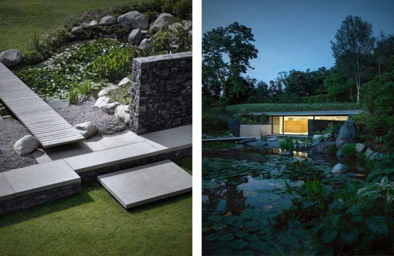 Detalles del solarium y vista del pabellón de la piscina desde el lago artificial