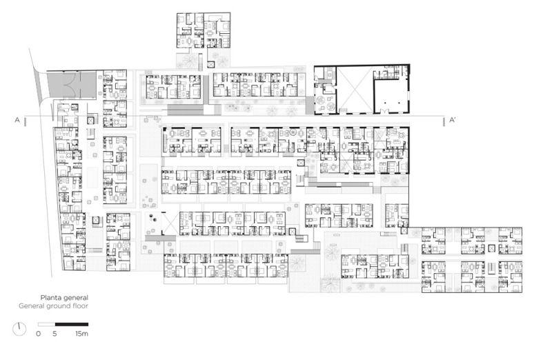 arquitectura plano PB Conjunto Habitacional María Ribera