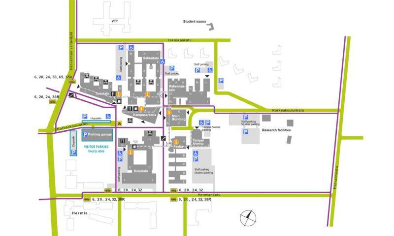 Plano de distribución y conexiones del campus de TUT