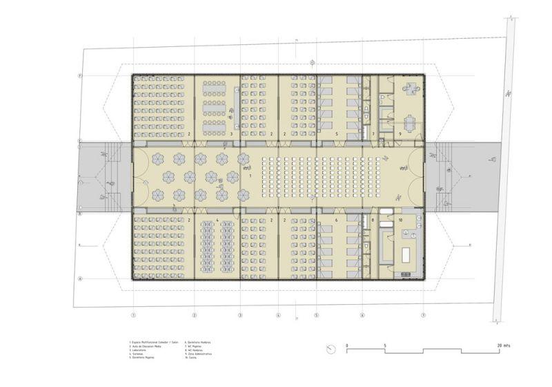Planta arquitectónica de la Institución Educativa Embera Atrato Medio
