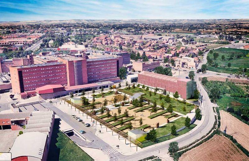 I-COVID COMPACT anexo al Arnau de Vilanova (Lleida), vista aérea, en construcción