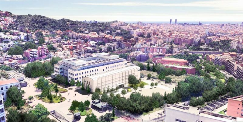 I-COVID COMPACT en Parc Sanitari Pere Virgili (Barcelona), vista aérea, en construcción
