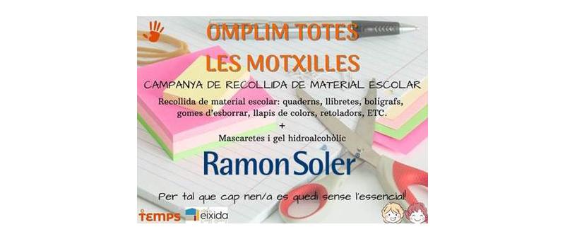 Arquitectura y Empresa, Ramon Soler, recogida de material escolar, gel hidroalcohólico y mascarillas, solidario, EIXIDA, Sant Boi de Llobregat