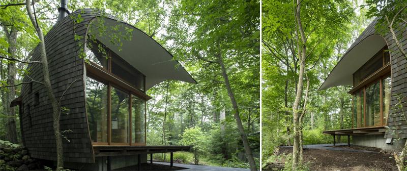 Arquitectura y Empresa, Tono Mirai Architects, cabaña, bosque, Nagano, Japón, Takeshi Noguchi, Shell House, eficiencia energética, sostenibilidad, sostenible, arquitectura pasiva, materiales de construcción locales, madera FSC