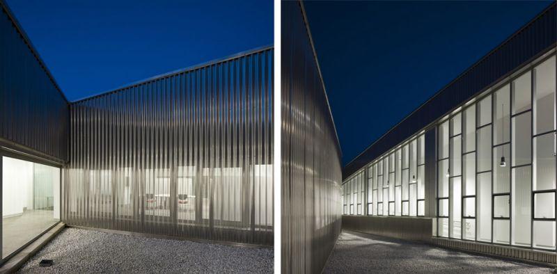 arquitectura unia arquitectos spee sevilla fachada piel aluminio microperforado patio