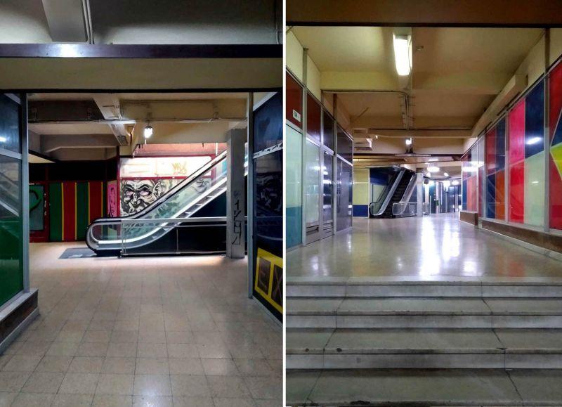 centro comercial stop escaleras mecánicas