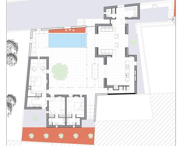 esquema de la planta baja de la casa
