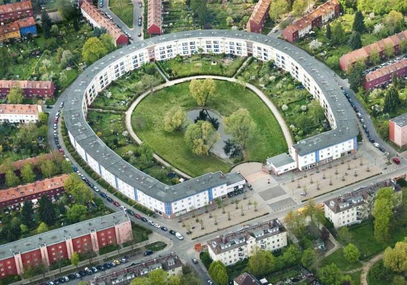 Vista aérea proyecto Hufeisensiedlung de Bruno Taut