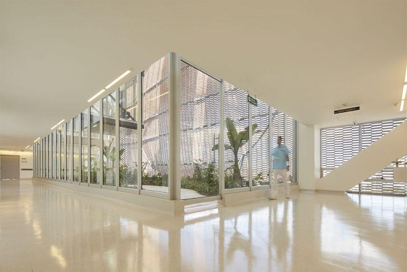 Fotografía vista del jardín interno desde los corredores de la Clínica.