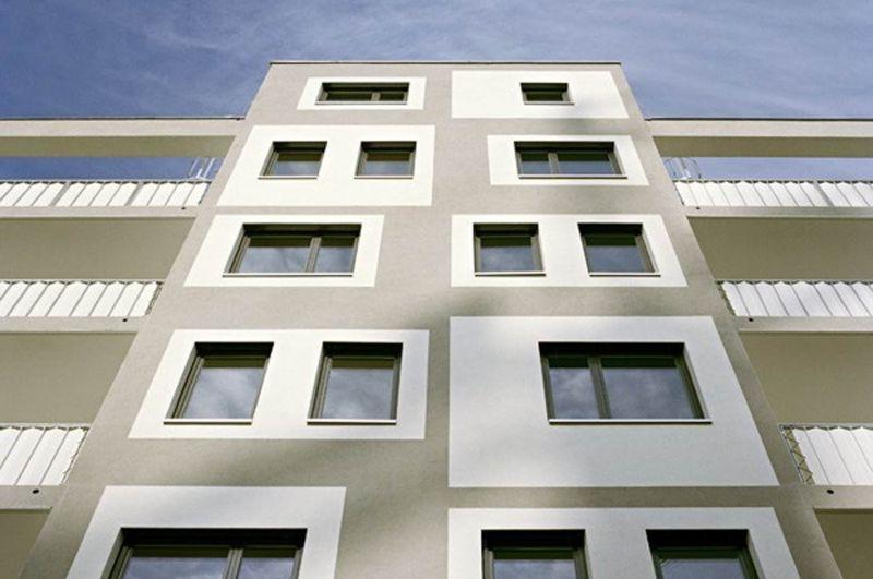 Fragmento fachada frontal del proyecto Wohnbau Rauchfangkehrergasse, Alleswirdgut Architektur ZT GmbH. Austria