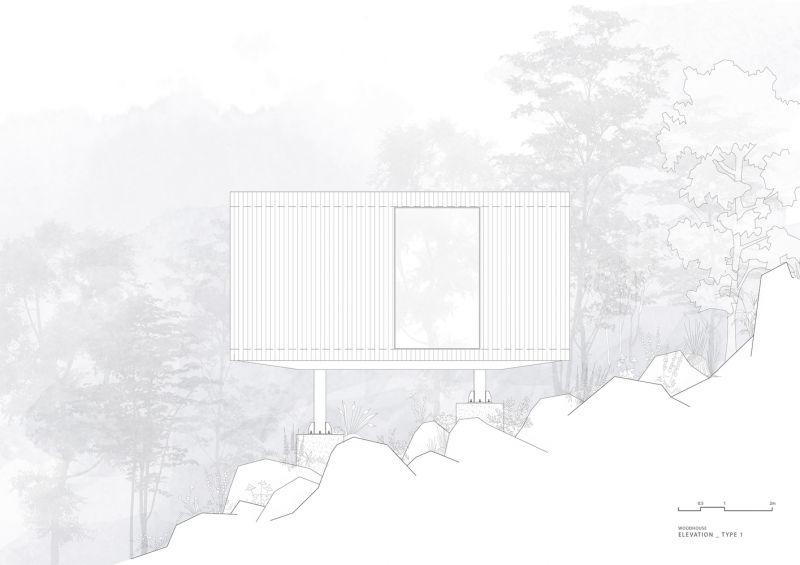 arquitectura y empresa_woodhouse hotel_cabañas alzado