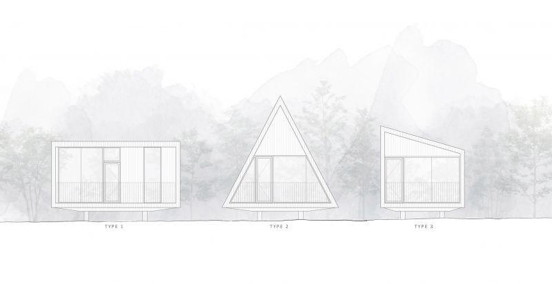 arquitectura y empresa_woodhouse hotel_cabañas alzados