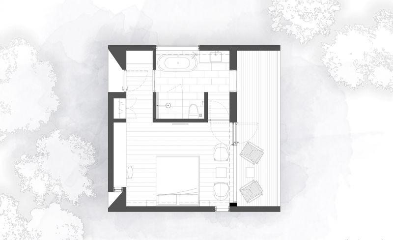 arquitectura y empresa_woodhouse hotel_cabañas planta tipo 3