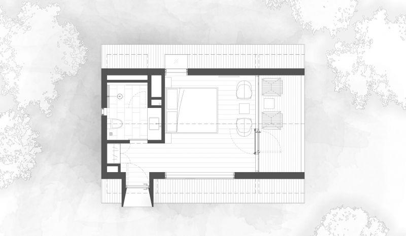 arquitectura y empresa_woodhouse hotel_cabañas planta tipo 1