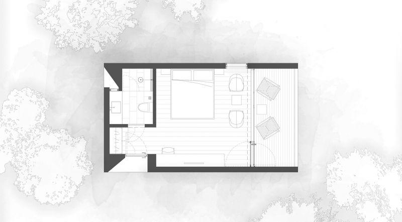 arquitectura y empresa_woodhouse hotel_cabañas planta tipo 2