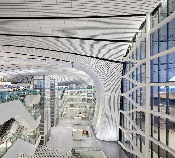 arquitectura zaha hadid architects aeropuerto daxing fotografía interior