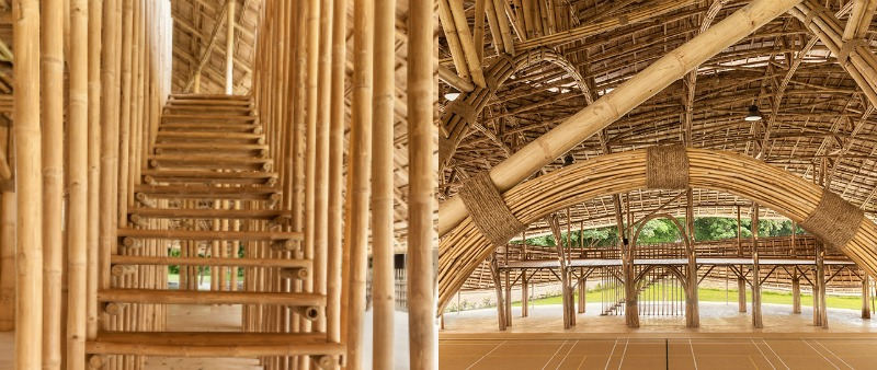 arquitectura, arquitecto, diseño, design, Chiangmai Life Architects, bambú, estructura, pabellón, deporte, palacio deportes, escuela, Tailandia, Chiang Mai, Alberto Cosi, Markus Roselieb, Tosapon Sittiwong, huella de carbono cero, sostenibilidad, sostenible, ecología, bioarquitectura