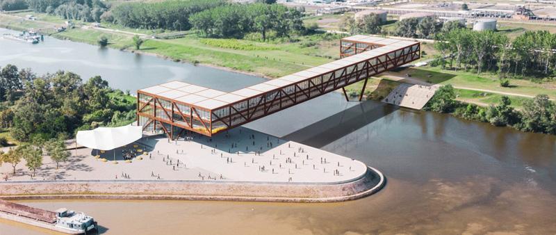 arquitectura, arquitecto, diseño, design, ARCVS, Serbia, Danubio, rio, puente, hotel, edificio oficinas, tiendas, acero corten, metal, Elbow Shadow, concurso