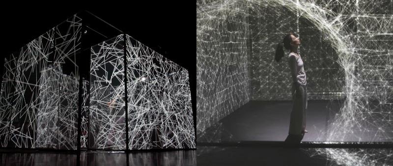 arquitectura, arquitecto, diseño, design, Adrien M & Claire B, Hakanaï, espectáculo, digital, arte, danza, movimiento, emociones, música, video, bailarina