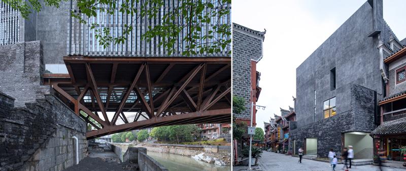 arquitectura, arquitecto, Atelier FCJZ, museo, China, JAM, puente, ciudad, Museo de Arte Jishou, Tian Fangfang, río Wanrong, multifuncional, acero, hormigón