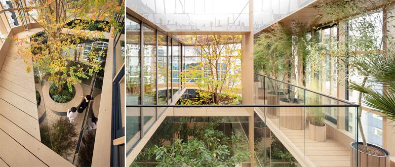 arquitectura, arquitecto, diseño, design, Nendo, Oki Sato, Tokyo, Tokio, Japan, Japón, Kojimachi, Kojimachi Terrace, torre de oficinas, fachada verde, madera, jardín urbano, cubierta verde, vegetación, plantas, pulmón urbano
