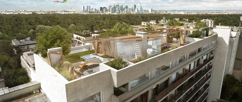 arquitectura, arquitecto, diseño, design, Matteo Cainer Architects, París, ciudad, ático, vegetación, paisajismo, renovación, rehabilitación