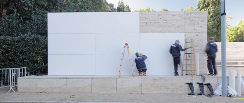 arquitecto, diseño, design, arquitectura, Anna y Eugeni Bach, Mies Missing Materiality  , Barcelona, España, Ludwig Mies van der Rohe, pabellón, material, instalación temporal, efímera