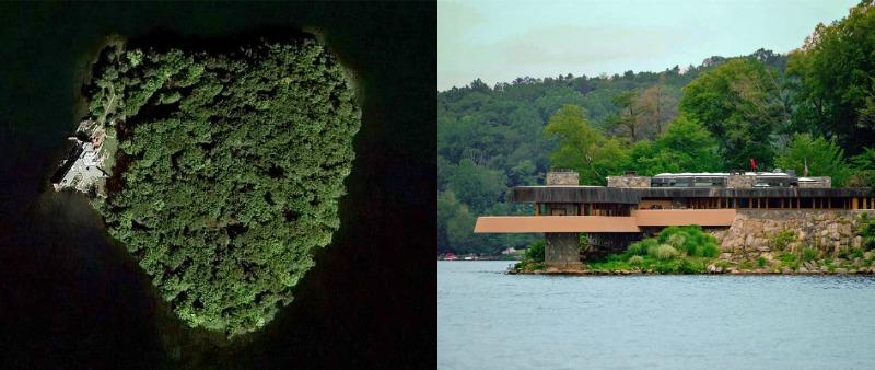 arquitectura, arquitecto, diseño, design, Frank Lloyd Wright, Petra Island, isla privada, Nueva York, proyecto residencial, vivienda, lujo, Lago Mahopac, unifamiliar, Chilton & Chadwick
