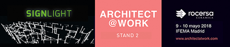 arquitectura, arquitecto, diseño, design, Rocersa, Architect@Work, Madrid, IFEMA, 2018, cerámica, revestimiento, luminiscente, SignLight