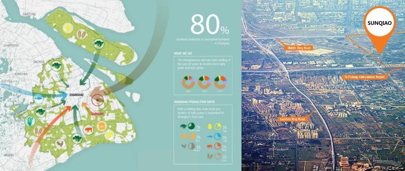 arquitectura, arquitecto, diseño, design, Sunqiao, Sasaki Associates, Shangai, China, distrito, urbanismo, sostenible, sostenibilidad, verde, cultivo ecológico, invernaderos urbanos, invernaderos flotantes