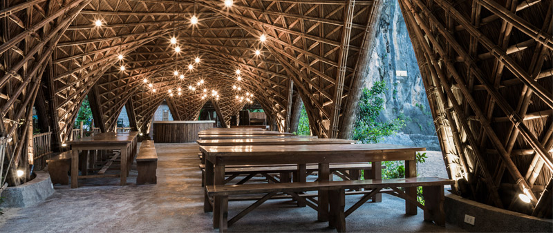 arquitectura, arquitecto, diseño, design, Hiroyuki Oki, Vo Trong Nghia Architects, Castaway Island Resort , Vietnam, Bahía de Lan Ha, playa, hotel, complejo hotelero, vacaciones, resort, bambú, sostenible, sostenibilidad, ecología, ecológico