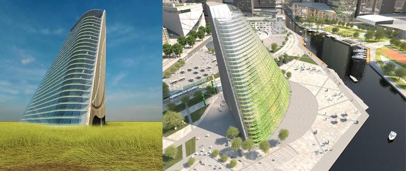 arquitectura, arquitecto, diseño, design, Plantagon, Suecia, torre, invernadero vertical, agricultura urbana, World Food Building, agritectura