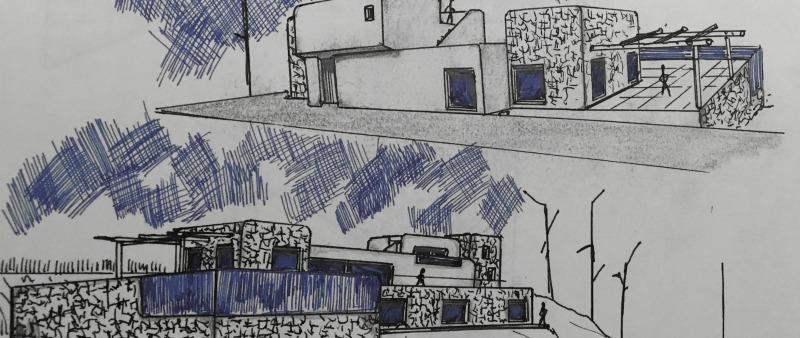 arquitectura, arquitecto, diseño, design, Denia, vivienda, casa, vacaciones, mar, Mediterráneo, piedra natural, blanco, azul, unifamiliar, lujo, privada, proyecto, Casa Driessen, piscina