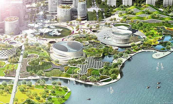 Vista aérea de Binhai Eco City