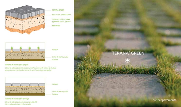 terana green conserva la imagen elegante del adoqun tradicional pero juntas verdes juntas que acumulan el agua de lluvia que