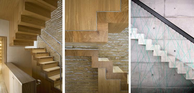 Escaleras flotantes de madera y hormigu00f3n con peldau00f1eados vistos de ...