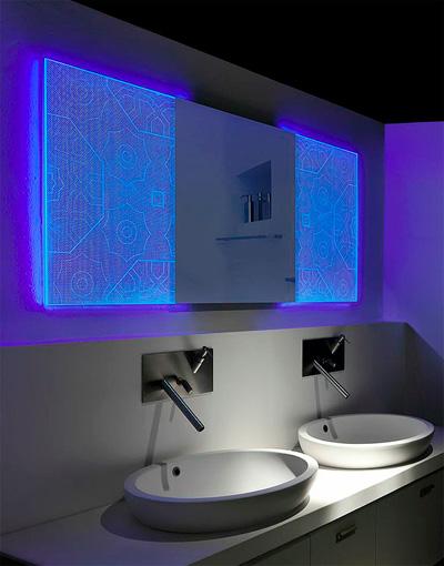 Espejos hologr ficos de led holotech crystals arquitectura for Specchio bagno 3d