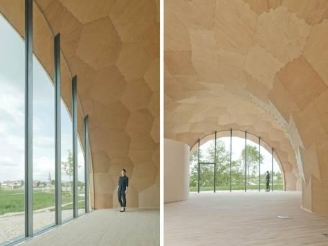 Landesgartenschau Exibition Hall, madera laminada, prefabricado, robots, erizo mar