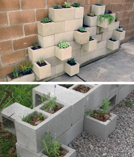 Diez ideas para reutilizar bloques de hormig n arquitectura - Maceteros de obra ...