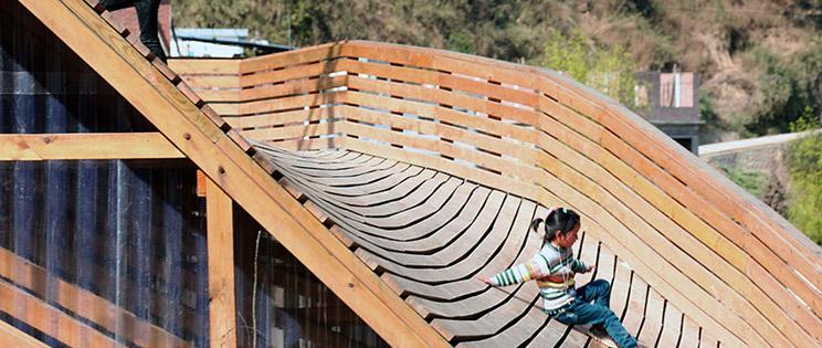 Madera y libros biblioteca the pinch shuanghe - Estructura de madera para cubierta ...