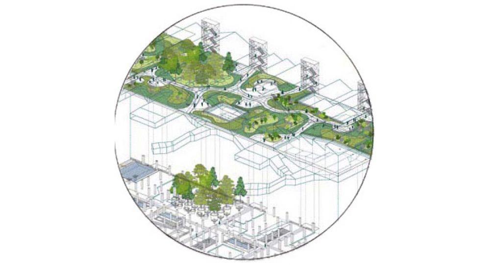 Condensador de paisajes en el antiguo Parque Móvil de Madrid . Proyecto finalista en el I Concurso PFC Arquitectura y Empresa