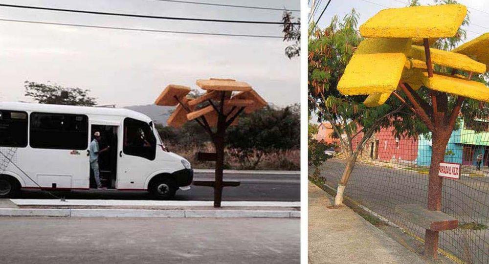 Paradas de autobús ecologías, objetivo la  convivencia entre el  entre el hábitat y el ser humano.