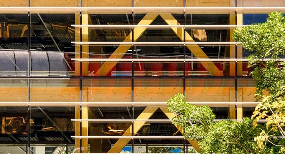 Arquitectura comercial con estructura de CLT. International House Sydney. Tzannes