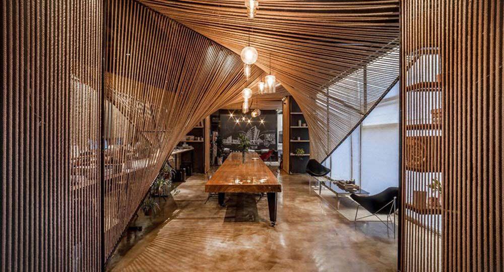 La Ola de Cuerdas: arquitectura de interior para oficinas
