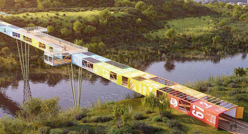 """Puente Econtainer: """"contenedores reciclados transformados en línea de vida"""""""