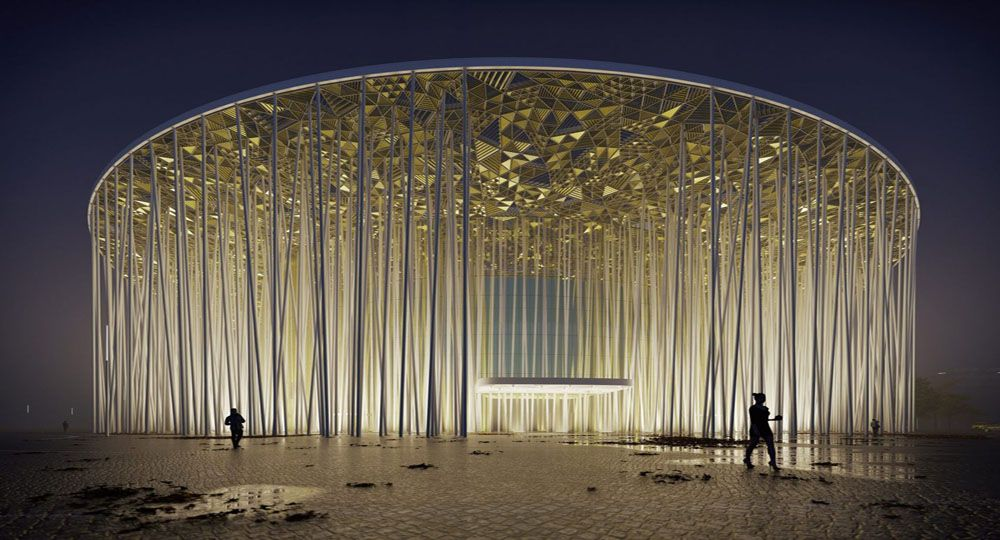 "Arquitectura del Teatro Show Wuxi TAIHU: ""bosque de bambú""."