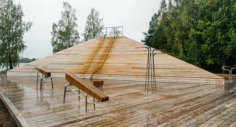 Tetraedern, instalaciones deportivas de madera. Gunilla Bandolin y Liljewall Architects.