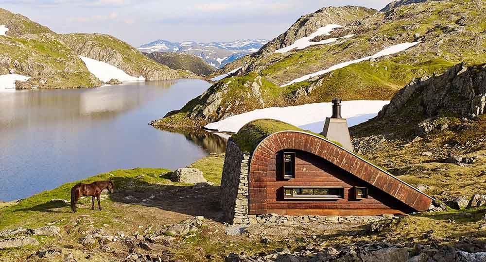 Refugio Bjellandsbu en Etne, Noruega. Snøhetta Arquitectos.
