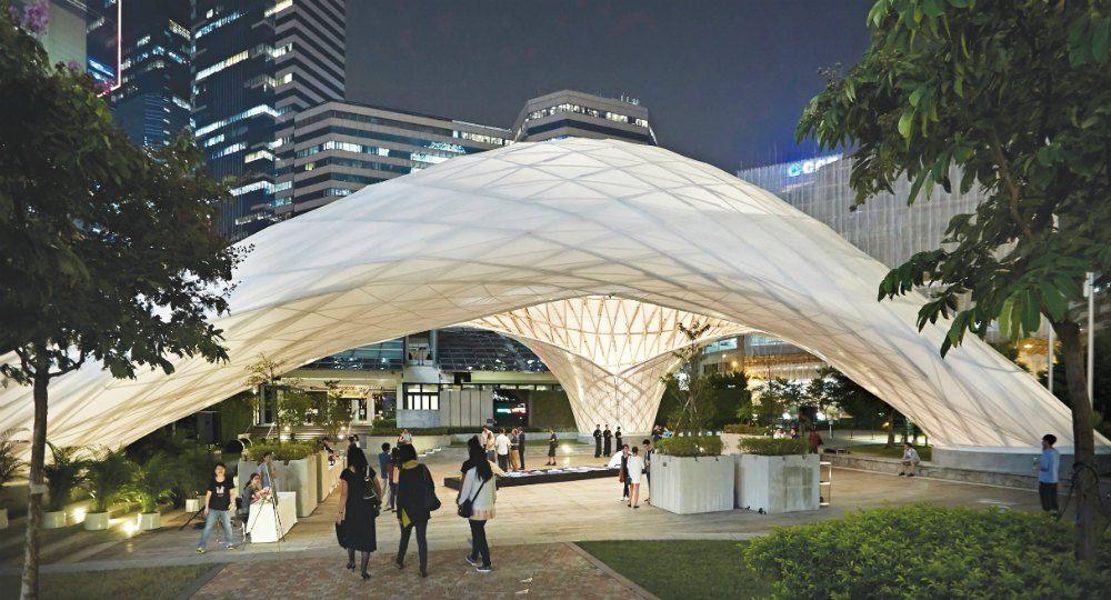 Construcci n eficiente y sostenible pabell n de bamb - Que es un porche en arquitectura ...
